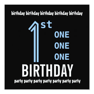 1st Birthday Party Modern Blue and Black Recycled 13 Cm X 13 Cm Square Invitation Card