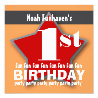 1st Birthday Party Orange Red Gray STAR V01A Personalized Invites