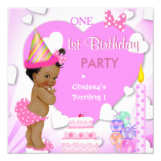 1st Birthday Party Pink Ethnic African American 13 Cm X 13 Cm Square Invitation Card