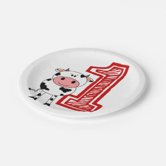 1st Birthday Party Plate - Cow or Farm Theme