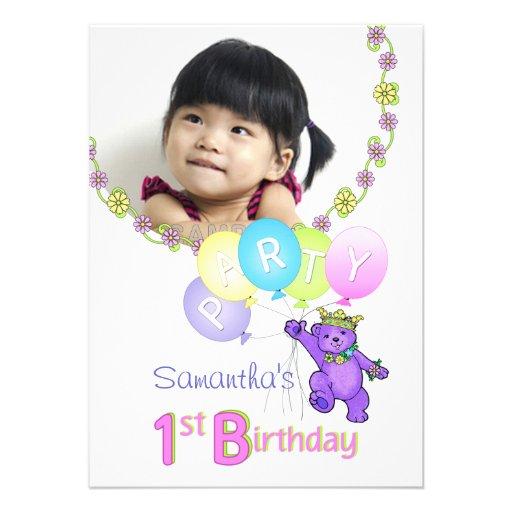 1st Birthday Party Princess Bear Custom Photo Custom Invites