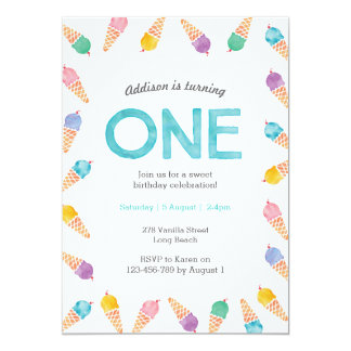 1st Birthday Party | Rainbow Ice cream invitation
