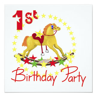 1st Birthday Party Rocking Horse 13 Cm X 13 Cm Square Invitation Card
