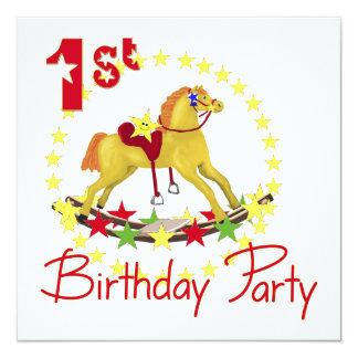 1st Birthday Party Rocking Horse 13 Cm X 13 Cm Square Invitation Card