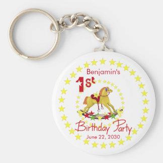 1st Birthday Party Rocking Horse Key Chains
