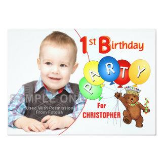1st Birthday Party Royal Teddy Bear 13 Cm X 18 Cm Invitation Card