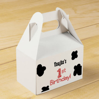 1st Birthday Party Treat Box  - Cow or Farm Theme
