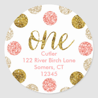 1st Birthday-Pink and Gold Glitter Address Classic Round Sticker