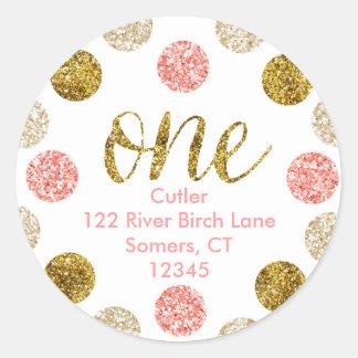 1st Birthday-Pink and Gold Glitter Address Round Sticker