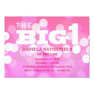 1st Birthday Pink Little Girl's Party Bokeh 11 Cm X 16 Cm Invitation Card