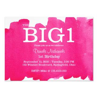 1st Birthday Pink Little Girl's Watercolor 11 Cm X 16 Cm Invitation Card