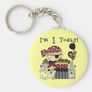 1st Birthday Pirate T-shirts and Gifts Basic Round Button Key Ring