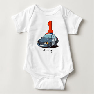 1st Birthday Police Car Baby Bodysuit