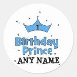 1st Birthday Prince Round Stickers