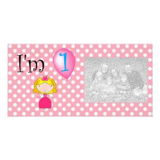 1st Birthday princess pink polka dots Customised Photo Card