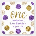 1st Birthday-Purple and Gold Glitter Square Sticker
