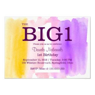 1st Birthday Purple Little Girl's Watercolor 11 Cm X 16 Cm Invitation Card