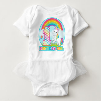 1st Birthday Rainbow Unicorn - Birthday Girl Baby Bodysuit