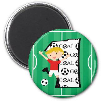 1st Birthday Red and White Soccer Goal 6 Cm Round Magnet