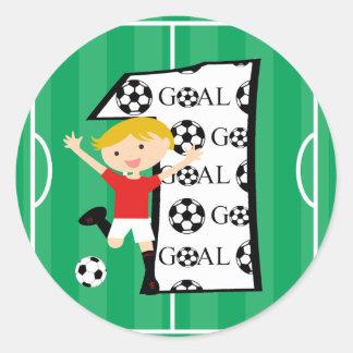 1st Birthday Red and White Soccer Goal Round Sticker