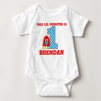 1st Birthday Red Monster Personalised T-shirt