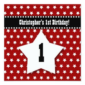 1st Birthday Red Stars Dashed Ribbon W001 5.25x5.25 Square Paper Invitation Card