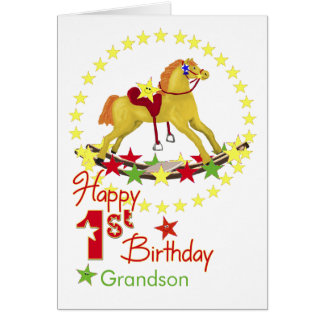 1st Birthday Rocking Horse Stars Card
