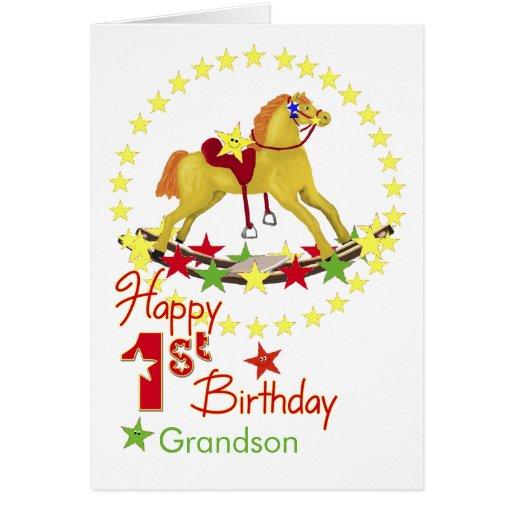 1st Birthday Rocking Horse Stars Card