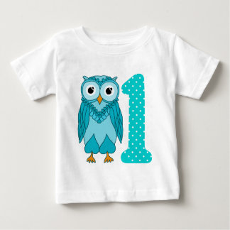 1st Birthday Shirt: Owl Blue Baby T-Shirt