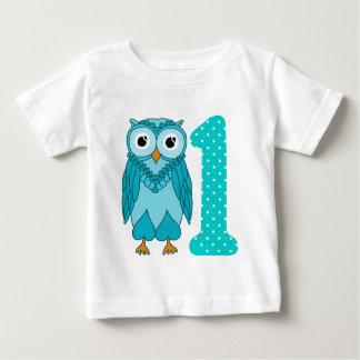 1st Birthday Shirt: Owl Blue Shirt
