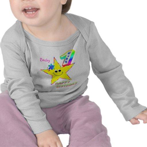 1st Birthday Smiley Stars Shirt Tshirts