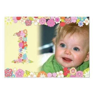 1st Birthday Spring Blooms Girls Photo Invite