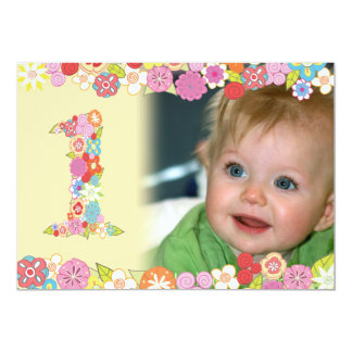 "1st Birthday Spring Blooms Girls Photo Invite 5"" X 7"" Invitation Card"