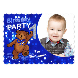 1st Birthday Teddy Bear Party Custom Photo Invitation