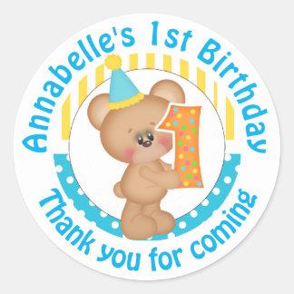 1st Birthday Teddy Bear Round Sticker