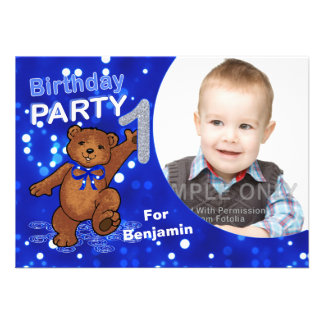 1st Birthday Teddy Bears Party Custom Photo Personalized Invite