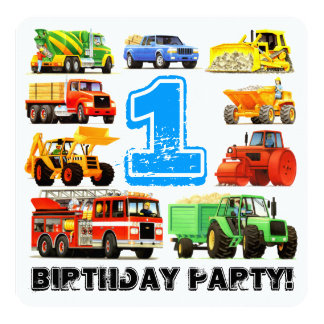 1st Birthday Truck Party Card