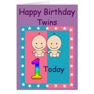 1st Birthday Twins Custom Card