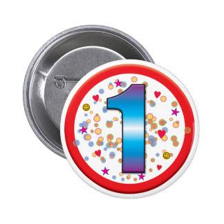 1st Birthday v2 6 Cm Round Badge