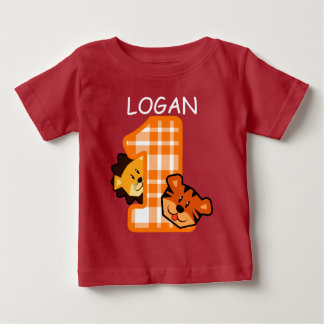 1st Birthday ZEBRA Tiger and Lion 1 Year Old A7A Baby T-Shirt
