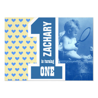 1st Boy Baby Birthday Add Your Photo Blue Hearts 3 13 Cm X 18 Cm Invitation Card