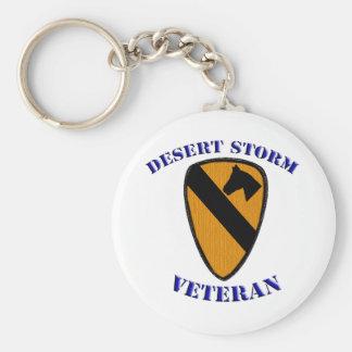 1st Cav Desert Storm Veteran Basic Round Button Key Ring