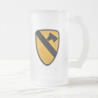 1st Cavalry Air Cav Airmobile Fort Hood Veterans Frosted Glass Beer Mug