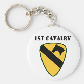 1st Cavalry Division Basic Round Button Key Ring