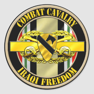 1st Cavalry Division Cavalry Scout OIF Classic Round Sticker