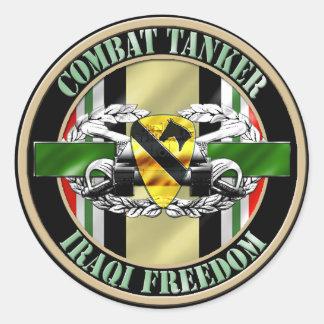 1st Cavalry Division Combat Tanker 19K OIF Classic Round Sticker