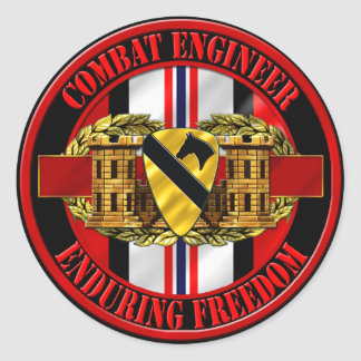 1st Cavalry Division Engineer OEF Round Stickers
