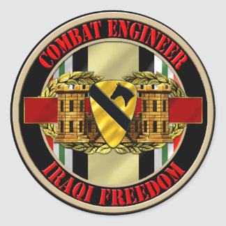 1st Cavalry Division Engineer OIF Classic Round Sticker