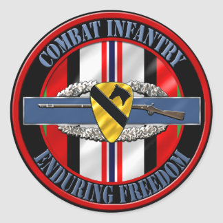 1st Cavalry Division Infantry OEF Classic Round Sticker