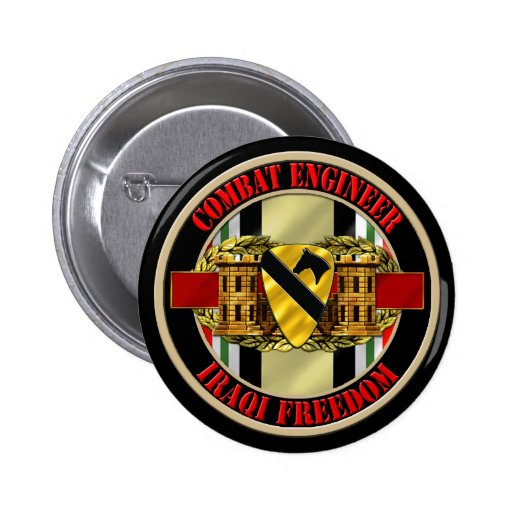 1st Cavalry Division OIF Engineer Pinback Buttons